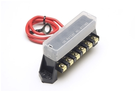 Fuse Block, 6 way, w/ cover & 12 Ga Lead